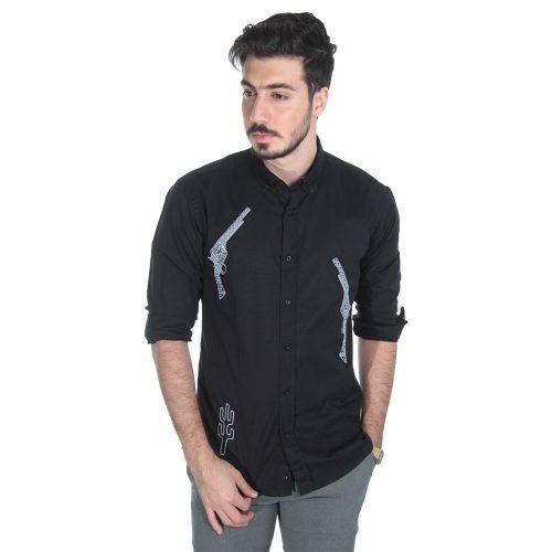 پیراهن مردانه آستین بلند مشکی