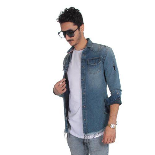 پیراهن جین مردانه زاپ دار