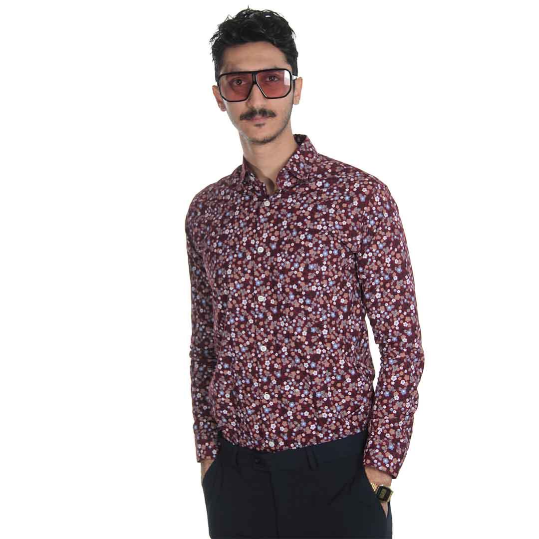 پیراهن مردانه آستین بلند گل گلی